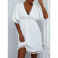 Solid Lace Short Sleeves Bat Sleeve A-line Above Knee Casual Skater Dresses