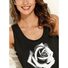 Print Floral Round Neck Sleeveless Casual Tank Tops