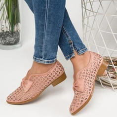 Women's PU Flat Heel Flats With Bowknot Hollow-out shoes