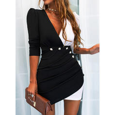 Color Block Long Sleeves/Puff Sleeves Bodycon Above Knee Casual Dresses