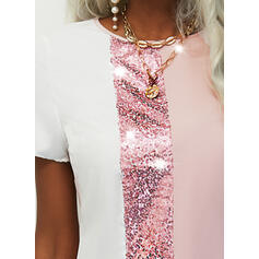 Sequins/Color Block Short Sleeves Shift Above Knee Casual Tunic Dresses
