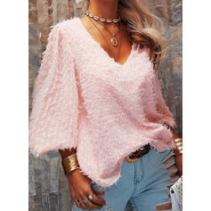Solid V-Neck Long Sleeves Casual Knit Blouses