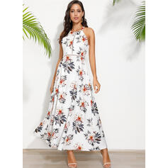 Print/Floral/Backless Sleeveless A-line Skater Sexy/Party Maxi Dresses