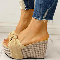 Women's PU Wedge Heel Sandals Peep Toe Slippers With Bowknot shoes