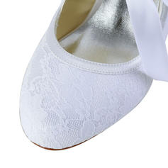 Women's Lace Satin Spool Heel Closed Toe Pumps With Ribbon Tie