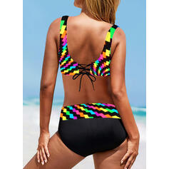 High Waist Splice color Strap V-Neck Vintage Plus Size Bikinis Swimsuits