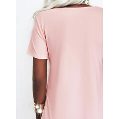 Solid Short Sleeves Shift Above Knee Casual/Elegant Tunic Dresses