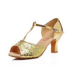 Women's Latin Heels Sandals Leatherette With T-Strap Latin