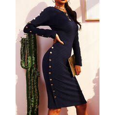 Solid Long Sleeves Bodycon Knee Length Casual Pencil Dresses