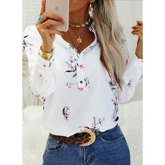 Print Floral V-Neck Long Sleeves Button Up Casual Shirt Blouses