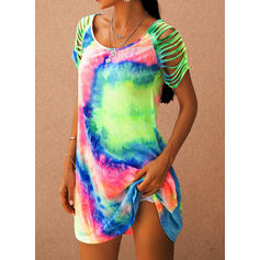 Tie Dye Short Sleeves Shift Above Knee Casual Dresses