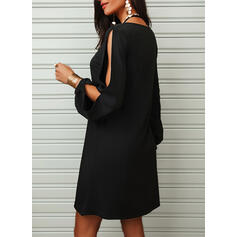 Sequins/Solid Long Sleeves/Split Sleeve Shift Above Knee Little Black/Vacation Tunic Dresses