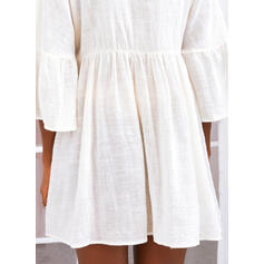 Solid 3/4 Sleeves/Flare Sleeves Shift Above Knee Casual Tunic Dresses