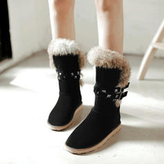 Women's Suede Flat Heel Boots Mid-Calf Boots Snow Boots With Rivet Buckle Faux-Fur shoes