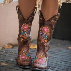 Women's PU Chunky Heel Mid-Calf Boots Riding Boots With Floral Embroidery shoes