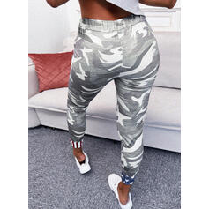 Camouflage Flag Knit Cropped Casual Sporty Plus Size Drawstring Pants