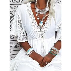 Lace/Solid 3/4 Sleeves A-line Skater Vacation Maxi Dresses