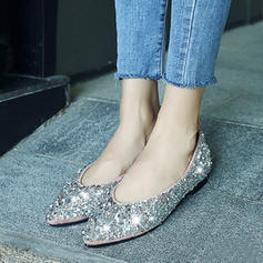Women's Sparkling Glitter Flat Heel Flats Closed Toe With Sequin shoes