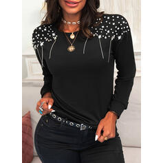 Sequins Beaded Round Neck Long Sleeves Casual Blouses