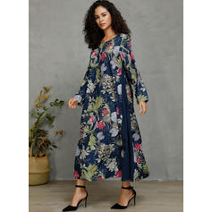 Print/Floral 3/4 Sleeves Shift Casual/Vacation Maxi Dresses