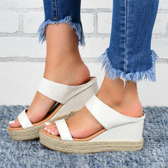 Women's PU Wedge Heel Sandals Wedges With Solid Color shoes