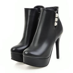 Women's Leatherette Wedge Heel Boots Closed Toe Platform Pumps With Zipper