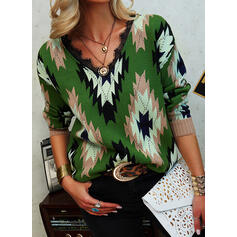 Print Lace V-Neck Casual Sweaters