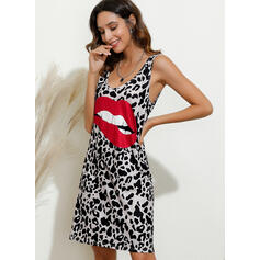 Print/Leopard Sleeveless Shift Above Knee Sexy Dresses