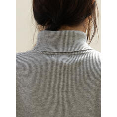 Solid Turtleneck Casual Tight Sweaters