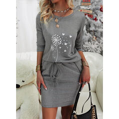 Animal Print Long Sleeves Bodycon Above Knee Casual Dresses
