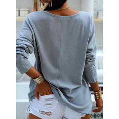 Solid Round Neck Long Sleeves T-shirts