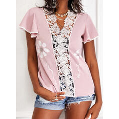 Print Floral Lace Sequins V-Neck Short Sleeves Casual Blouses