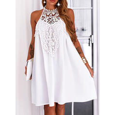 Solid Lace Sleeveless Shift Knee Length Casual Dresses