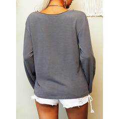 Print Heart Letter Round Neck Long Sleeves Casual T-shirts