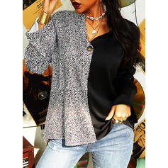 Color Block Leopard V-Neck Long Sleeves Button Up Casual Blouses
