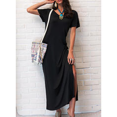 Solid Short Sleeves Shift T-shirt Little Black/Casual/Vacation Maxi Dresses