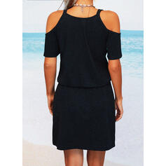 Solid Short Sleeves A-line Above Knee Little Black/Casual/Vacation Skater Dresses
