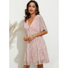 Print Short Sleeves Shift Above Knee Casual/Vacation Dresses
