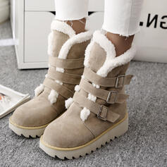 Women's Suede Flat Heel Snow Boots Winter Boots With Buckle Solid Color shoes