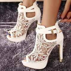 Women's PU Stiletto Heel Pumps Closed Toe Ankle Boots With Buckle Hollow-out shoes