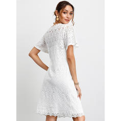 Lace/Solid Short Sleeves Shift Knee Length Casual/Party/Elegant Dresses
