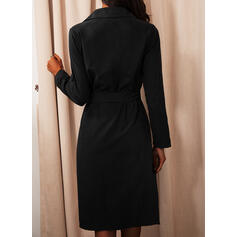 Solid Long Sleeves A-line Shirt/Skater Little Black/Casual Midi Dresses