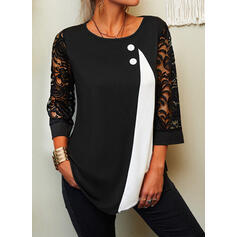 Color Block Lace Round Neck 3/4 Sleeves Button Up Elegant Blouses