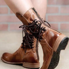 Women's Leatherette Low Heel Boots With Rivet Lace-up shoes