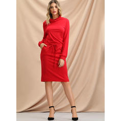 Solid Long Sleeves Bodycon Knee Length Casual Sweatshirt Dresses