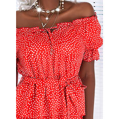 Print/PolkaDot/Lace-up Short Sleeves A-line Above Knee Casual Skater Dresses
