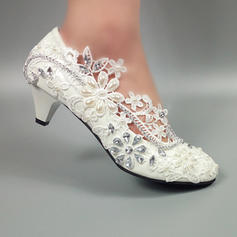Leatherette Kitten Heel Closed Toe With Stitching Lace