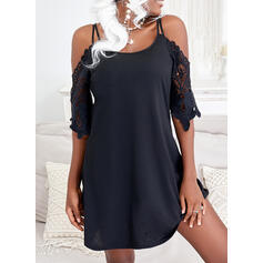 Solid Lace 1/2 Sleeves Cold Shoulder Sleeve Shift Above Knee Little Black/Casual/Vacation Tunic Dresses