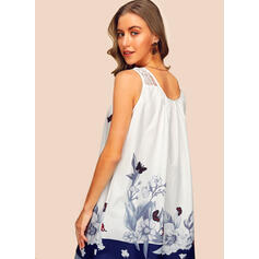 Animal Print Floral Lace Round Neck Sleeveless Tank Tops