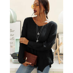 Solid One-Shoulder Long Sleeves Casual Knit Blouses
